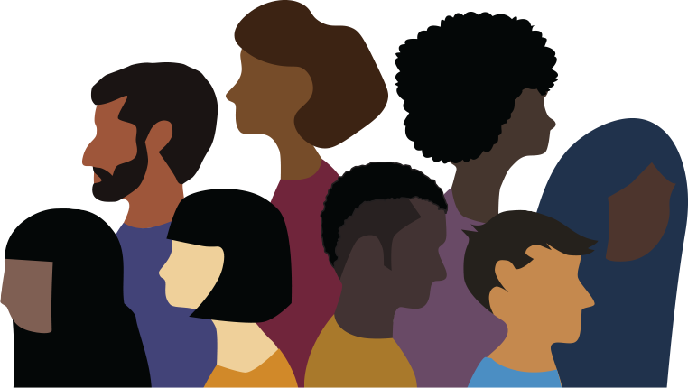 Stylised Illustration of profiles of different people from different ethnic backgrounds